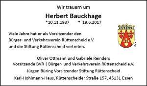 Traueranzeige Herbert Bauckhage